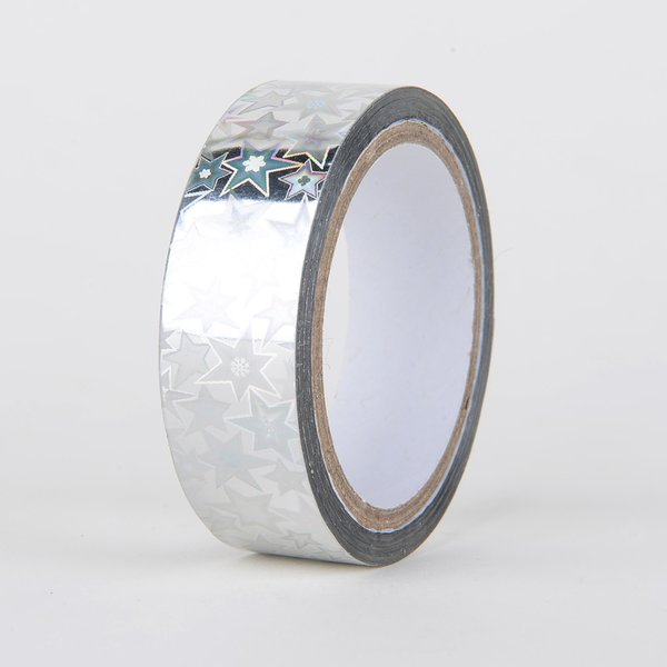 Decorative Tape, Holographic, Silver Star, SKU: DT150158