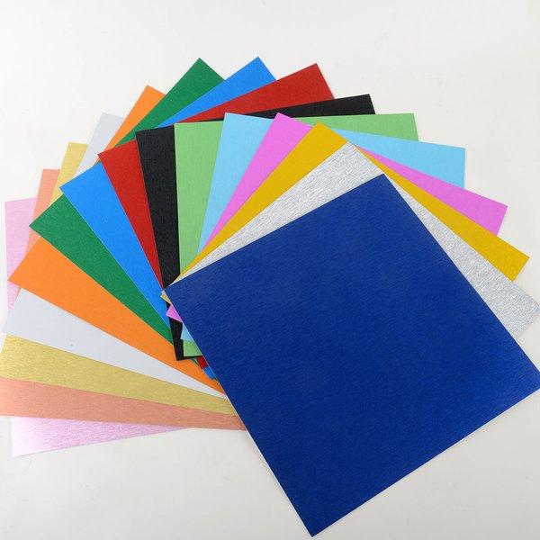 """Satin Glitter Sticky Paper Mix Pack(1), 12"""" x 12"""" x 15 sheets, SKU# GTS-1212903-15"""