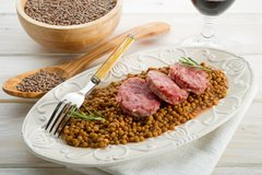 Sold Out! Tues., April 24th: Lentilles du Puy (French Green Lentils) w/ Spring Vegetables and Choice of: Garlic Sausage, Duck Confit, Chicken Confit, or Vegetarian - (Time to Cook: 40 min. / Cook by Day: Sunday)