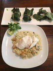 Tues.-Fri, Sept. 19th-22nd: Bacalao con Salsa de Coco y Choclo (Grilled Fig Leaf Wrapped New England Cod over Coconut-Corn Chowder) - Shrimp Substitute Available - ($15 Per Person / Time to Cook: 30 min.)