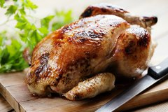 Tues-Fri, Sept. 19th-22nd: Roasting Chicken with Seasonal Vegetables, Options: 1) Traditional, 2) Moroccan with Preserved Lemon, 3) Panko Breadcrumb Stuffed 4) Sesame Ginger 5) BBQ (Serves 3-4 / Time to Cook: 1-1:15 Hours (none active))