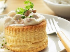 Thurs., May 24th: Vol-au-Vent de Volaille et Champignons (Chicken in Puff Pastry with Mushrooms & Pickled Tongue (optional)) - $16 Per Person / Time to Cook / Cook by Day: Sunday)