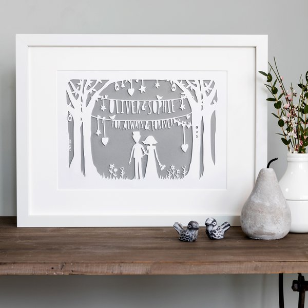 The wedding original bespoke papercut personalised wedding gift the wedding papercut negle Images