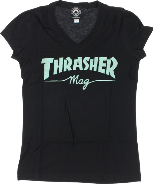 WOMEN'S THRASHER MAG LOGO V-NECK SS (2 COLORS AVAILABLE)