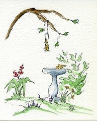 Garden with Birdbath Notecards (set of 8)