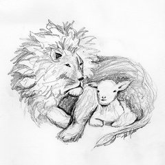 Lion & Lamb Giclee Reproduction