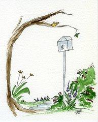 Garden with Birdhouse Notecards (set of 8)