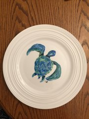 Large Turtle Plate - hand painted