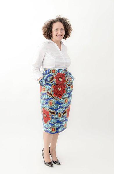 Aqua Fusion Pencil Skirt