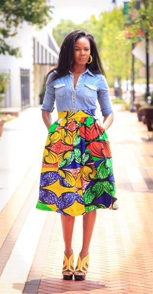 Color Explosion Midi Skirt