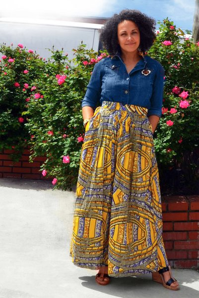 Purple Yellow Swirl Maxi Skirt
