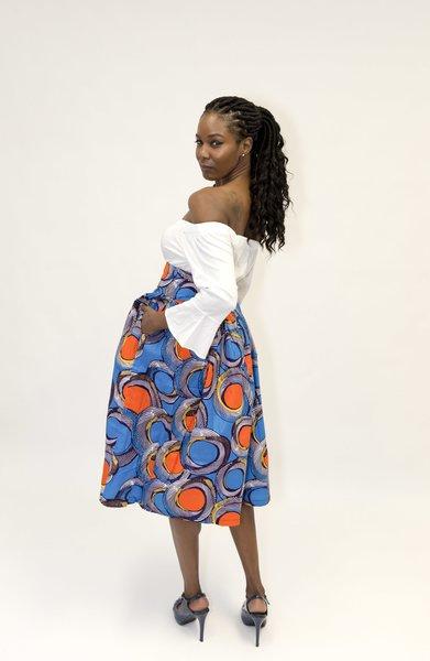 Blue Twist Midi Skirt