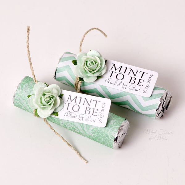 Mint to be wedding favors wrapped mint roll personalized mints