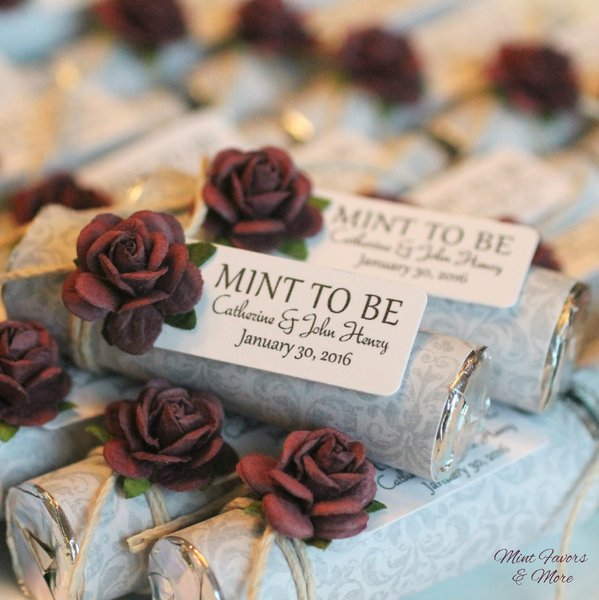 Grey Damask Wedding Favor With A Plum Rose