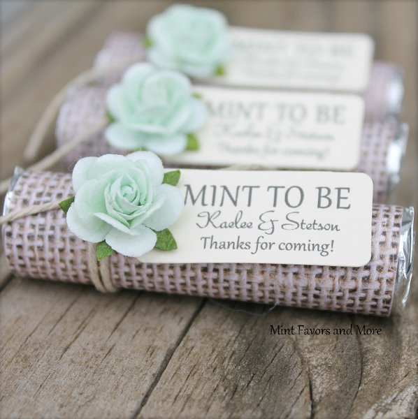 Ideas For Wedding Favors For Guests: Personalized Wedding Favors, Burlap Wedding Favors, Mint