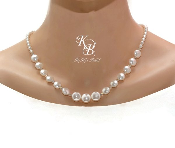 Coin Pearl Necklace Pearl and Crystal Necklace Pearl Bridal
