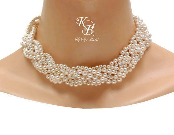Braided pearl necklace chunky wedding necklace bridal statement braided pearl necklace chunky wedding necklace bridal statement necklace pearl bridal jewelry pearl necklace elegant necklace wedding jewelry junglespirit Images