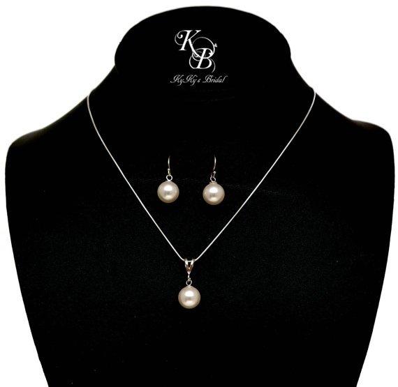 Pearl Jewelry Set Bridal Jewelry Set Simple Pearl Jewelry Set