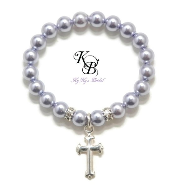 sku products bracelet white and beads cross baptism freshwater pearl store