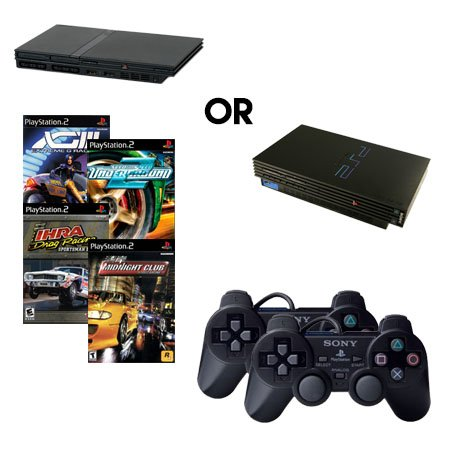 Playstation 2 Fat or Slim Complete System with 4 Random Racing Games and 2 Controllers
