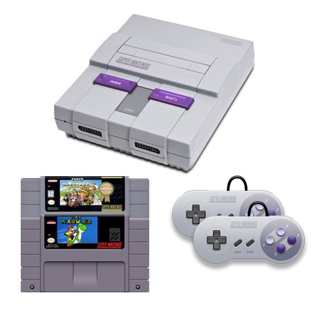 SNES Complete System with Super Mario World, Super Mario Kart and 2 Controllers