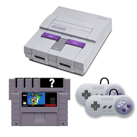 SNES Complete System with Super Mario World, 4 Random Games and 2 Controllers