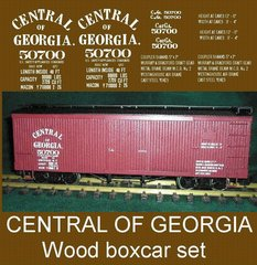 CENTRAL OF GEORGIA WOOD BOXCAR G-SCALE DECAL SET. STEAM ERA.
