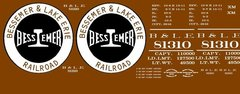 BESSEMER & LAKE ERIE R.R. 40 FT BOXCAR G-CAL DECAL SET