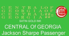 CENTRAL OF GEORGIA PASSENGER CAR. G-CAL DECAL SET. $$ SATIN GOLD INK