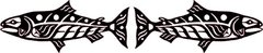 Salmon Pair, Black Batik Lasercut Applique