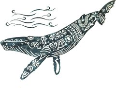 Humpback Whale Lasercut Appliqué, Grey