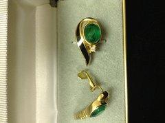 Vintage Christian Dior Faux Emerald & Enamel Clip on Earrings