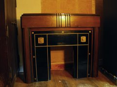 Art Deco Mantle with Black and Gold Trim
