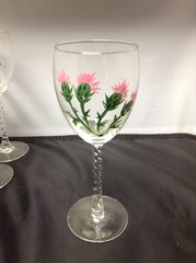 Hand Painted Pink and Green Flowers Wine Glass