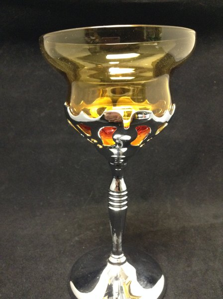 Farberware Amber Glass Cordial Goblet with Silver Chrome Stem
