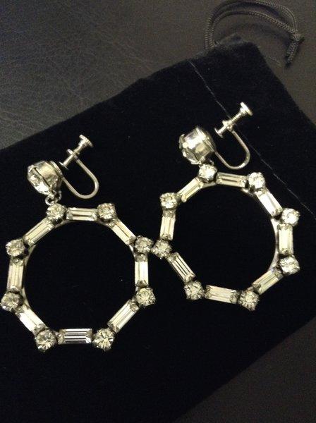 Clear Rhinestone Screw-back Dangle Earrings