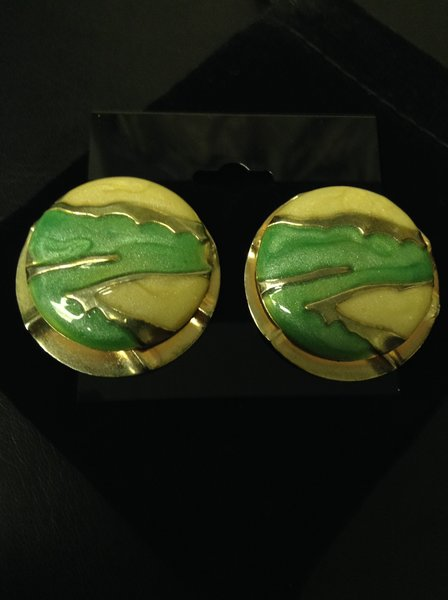 Green and Cream Enamel Goldtone Pierced Earrings