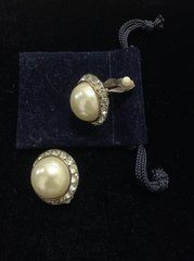 Faux Pearl with Rhinestones Clip on Earrings