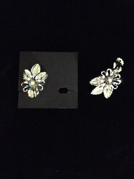 Rhinestone Silver Flower Clip on Earring