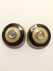 Black & Tan Enamel with Crystal Center Button Clip On Earrings