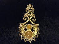 Vintage Goldtone Tower Brooch w/ Bead Accents