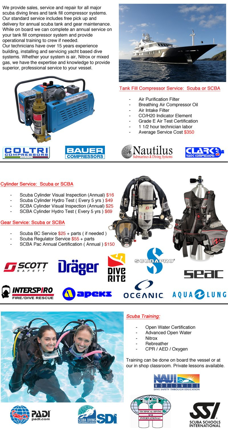 Yacht Scuba Diving Services Including Tank Fill Compressor