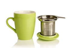 Porcelain cup and infuser basket (light green color)