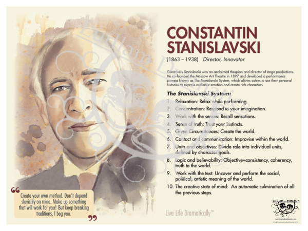 Live Life Dramatically Apparel By Ludlam Dramatics: Constantin Stanislavski Bio Poster