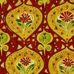 F - Garden For Olivia, Medallion, Red/Gold