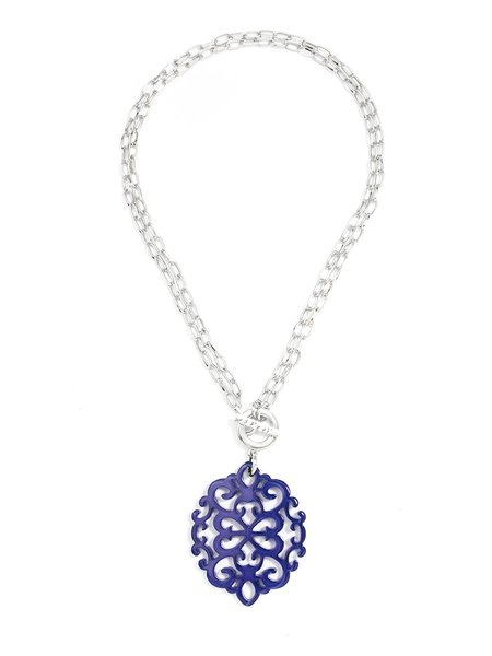 Zenzii navy necklace with silver tone toggle free shipping two zenzii modern damask navy pendant with silver tonetoggle aloadofball Choice Image