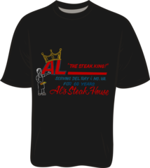 Al's Steak House - Steak King by Donnie Strother T-shirt in BLACK
