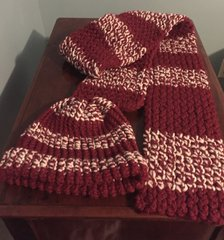 Scarf and Hat, Knit, Red and White