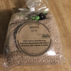 Soap Saver Gift with 2 Bars of Oatmeal Goat Milk Soap