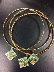 Ft. Carson Mountain Post Gold Bangle Bracelet w/charm
